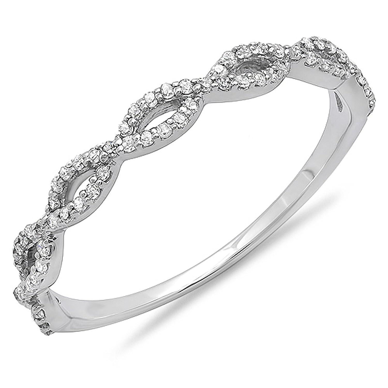 0.18 Carat (ctw) 14K Gold Round Diamond Ladies Swirl Anniversary Wedding Band Stackable Ring 1/5 CT