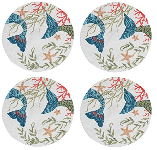 (Kay Dee Mermaid Tails Cotton Braided Placemats Kitchen or Dining Room Set of 4 )