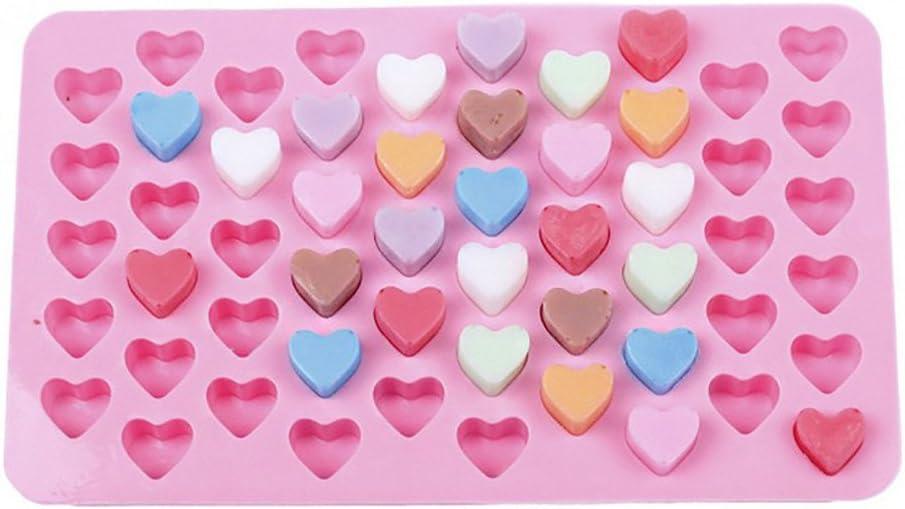 Dumanfs 55 Mini Silicone Mold Heart Chocolates Shape Baking Pan Ice Cube Sweets Truffles Ice Tray Cake Mould for Home Kitchen Bar Baking