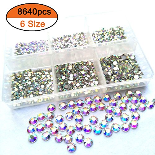 Deal 8640pcs Nail Rhinestones Flatback Crystals Nail Art Rhinestones 1.3mm-2.8mm AB Round Glass Gems Stones Beads for Nails Decoration Crafts Eye Makeup Clothes Shoes Mix 6 Size SS3-SS10 by Divalove Beauty