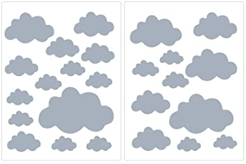 PREMYO 25er Set Wolken Wandsticker Kinderzimmer Wandtattoo Wand-Deko  Stilvoll Einfaches Anbringen Selbstklebend Raufaser-Tapete Geeignet Grau