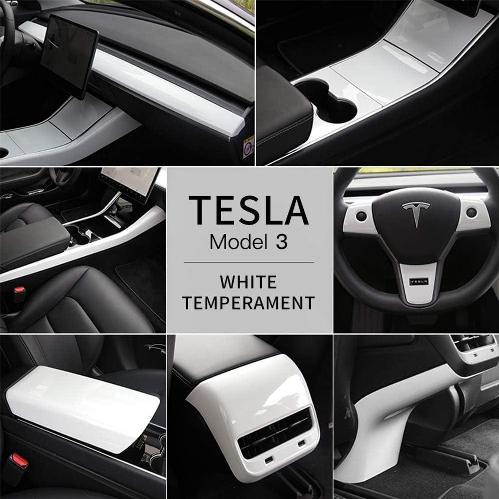 L/&U Un Insieme di Accessori Auto Interni Covers Cruscotto Disposizione della Copertura della Centro Panel Console Covers ECC per Tesla Model 3,Rosso