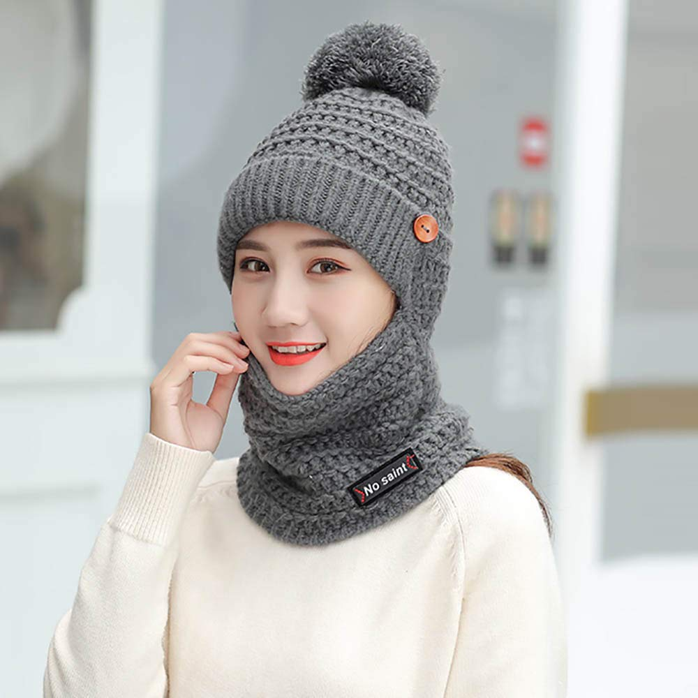c25c2dcffea Women s Cute Winter Neck Warmer Knit Beanie Hat with Windproof Face Mask  Brim Pom Pom (Black) at Amazon Women s Clothing store