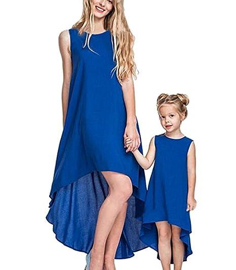 Vestido de niña Vestido de novia con madre e hija Vestido de niña con agua Mini vestido sin mangas Familia Match Ropa Cena: Amazon.es: Ropa y accesorios