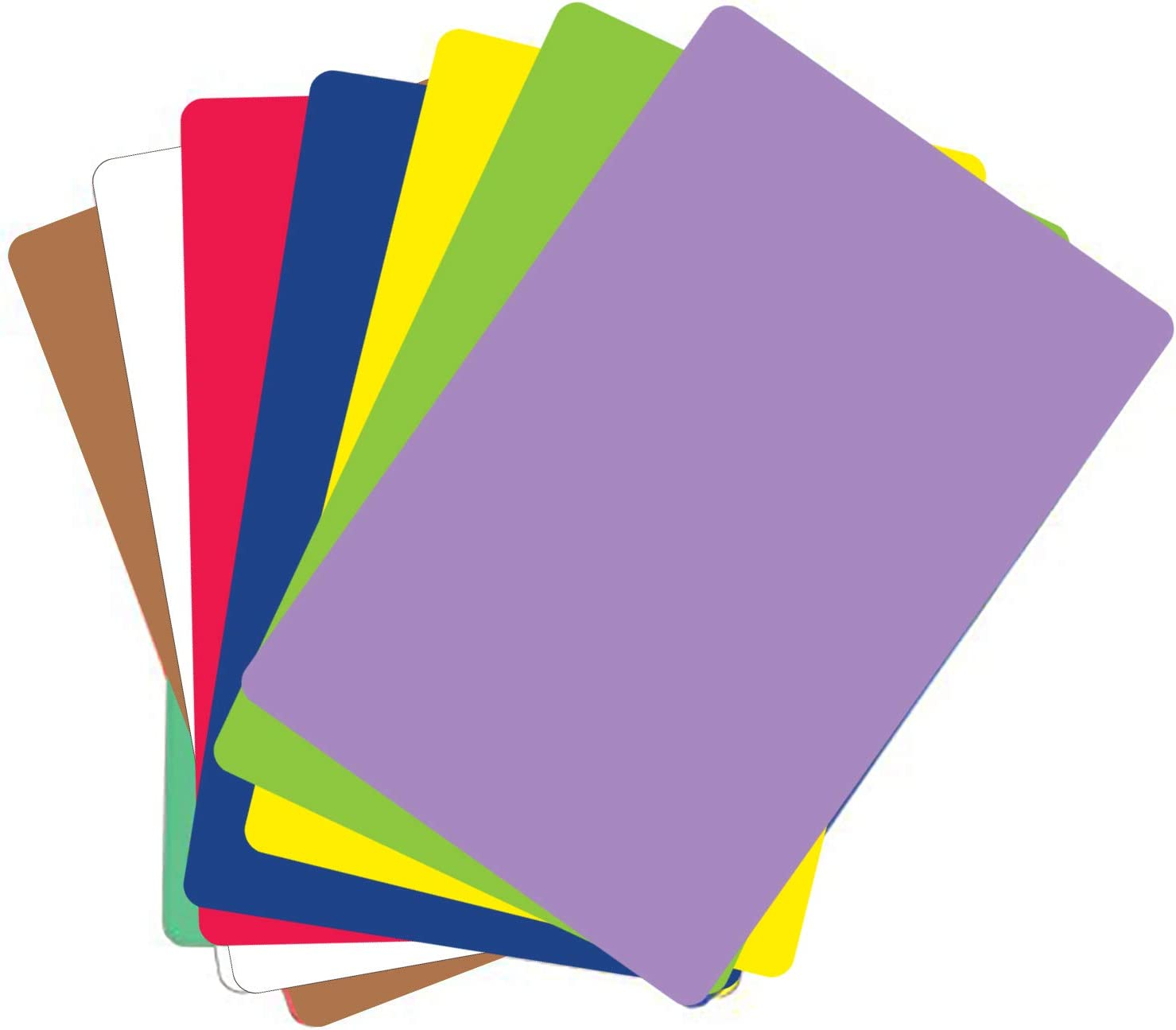 """Food Service Grade Heavy Gauge Flexible Cutting Board Mats Set of 7 Assorted Colors BPA Free 12"""" x 18"""" Made in the USA by Chop Chop"""
