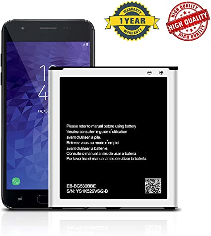 Galaxy J3 Battery 3200mAh Li-ion Replacement Battery for Samsung Galaxy J3 J320V J320A J320F J320P J327A J327P EB-BG530BBC EB-BG530BBE SM-G530 Spare Battery Upgrade 24 Months Warranty