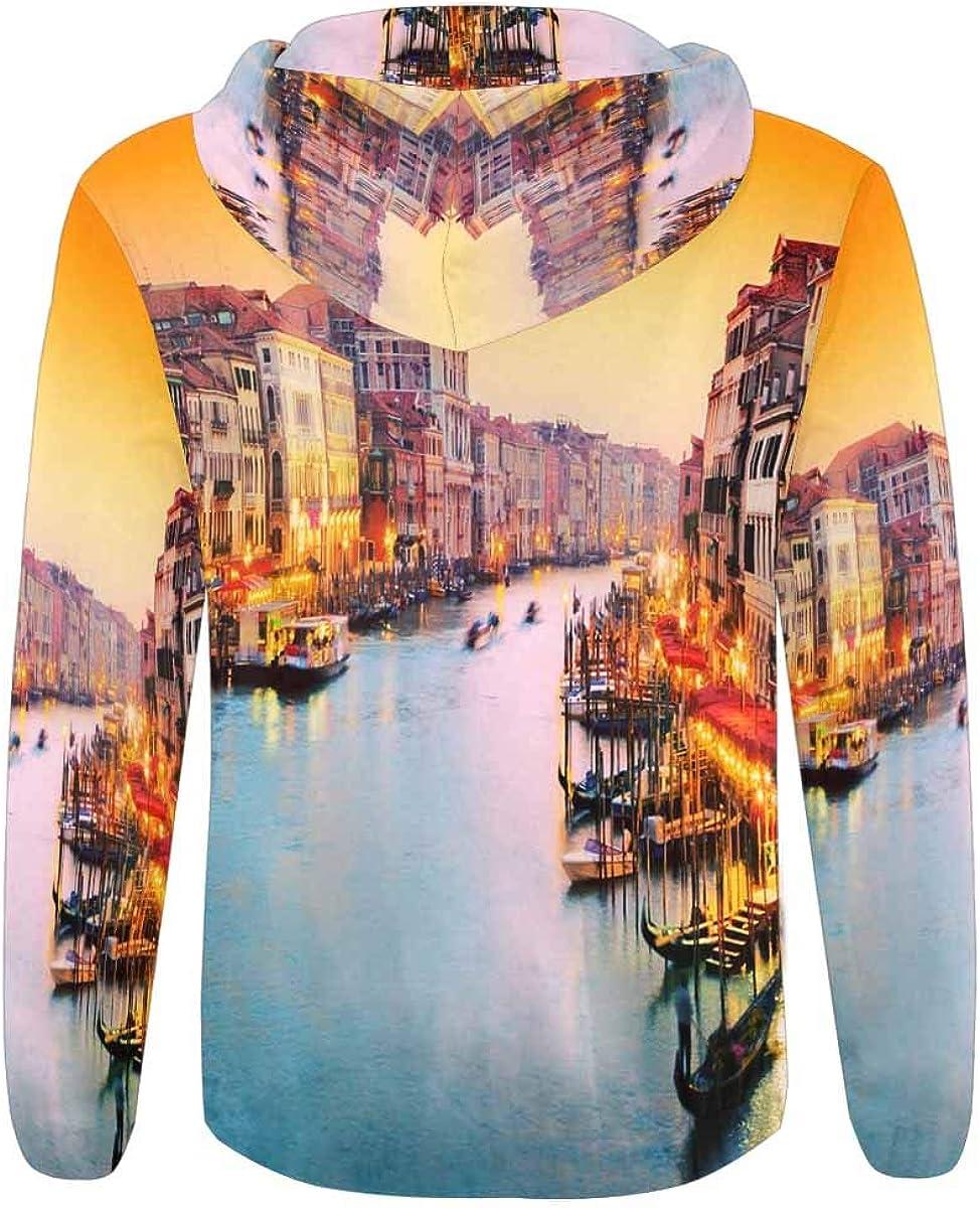 Italy Gondola Floats on Grand Canal INTERESTPRINT Mens Pullover Full Zip Hoodies Sweatshirt Venice