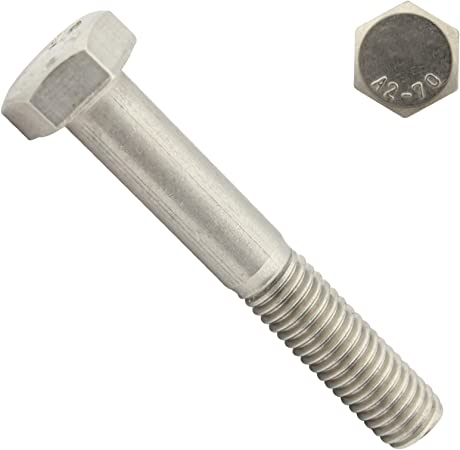 Lot de 10 A2/en acier inoxydable enti/èrement filet/ée /à t/ête hexagonale M6/6/mm x 50/mm Tige filet/ée