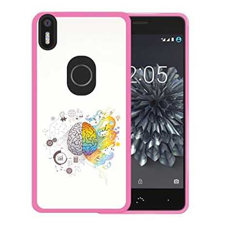 WoowCase Funda Bq Aquaris X5 Plus, [Bq Aquaris X5 Plus ] Funda Silicona Gel Flexible Cerebro Musica y Ciencia, Carcasa Case TPU Silicona - Rosa