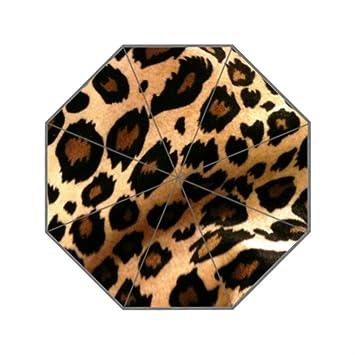 Animales piel leopardo personalizado sol lluvia anti UV paraguas de viaje plegable paraguas para las mujeres compacto: Amazon.es: Jardín