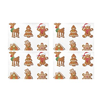 Menedo Gingerbread Cookies Sweet Biscuit Kitchen Printed Stain Resistant  Heat Insulation Washable Square Table Mat Placemat c2f5c25ae