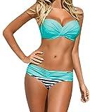Nulibenna Push Up Two Piece Bikini Swimsuit Candy Patch Padded Swimwear