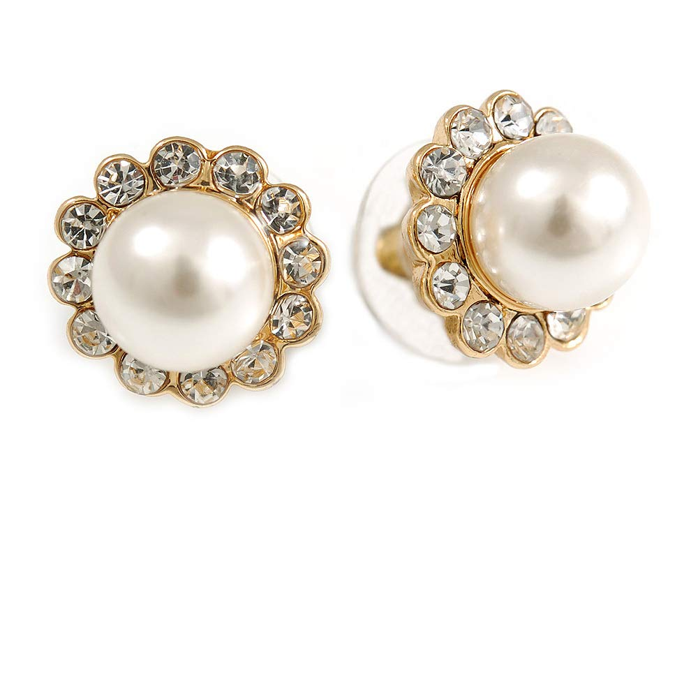 Small Classic Diamante Synthetic Pearl Stud Earrings In Gold Plating 12mm Diameter