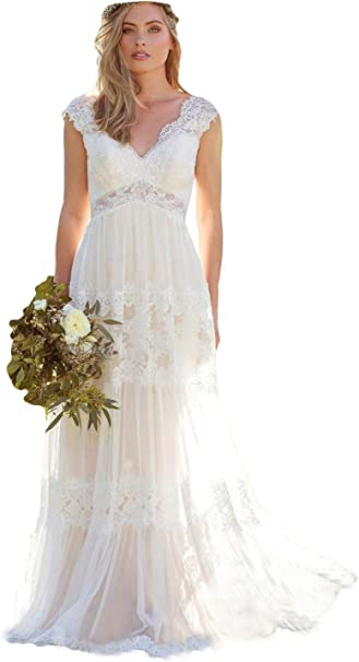 Dressesonline Women S V Neck Lace Bohemian Wedding Dresses Appliques Bridal Gown Vestido De Noivas