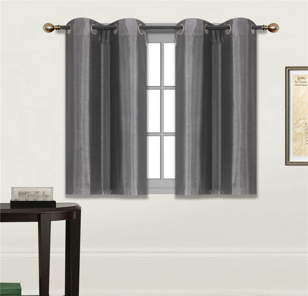 "Elegant Home 2 Panels Tiers Grommets Small Window Treatment Curtain Faux Silk Insulated Blackout Drape Short Panel 28"" W X 36"" L Each for Kitchen Bathroom or Any Small Window # D24 (Charcoal)"