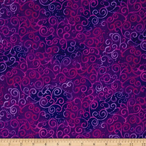 Fabric & Fabric 0472483 QT 108in Wide Quilt Back Ombre Scroll Grape Fabric by The Yard ()