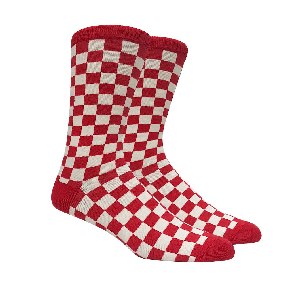 526f2b755c042 Mens Red and White Checkered Socks