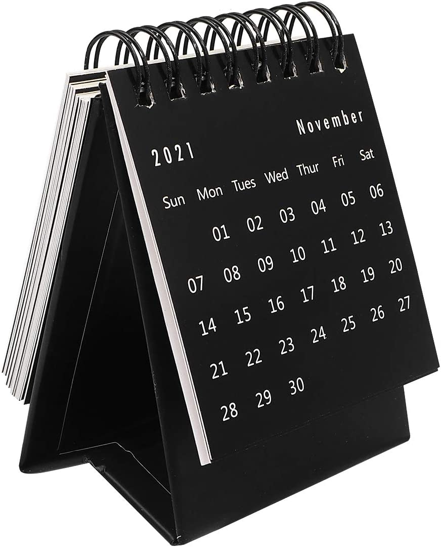 STOBOK 2020-2021 Desk Calendar Stand Up Desktop Year Calendar Organizer Flip Daily Scheduler Monthly Pages Easel Calendar (Black)