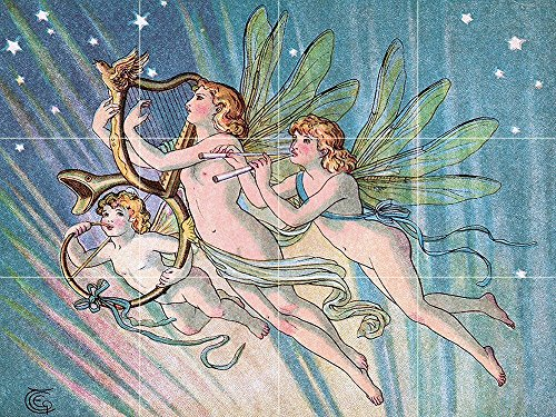 Emily's Fairies by E Gertrude Thomson Tile Mural Kitchen Bathroom Wall Backsplash Behind Stove Range Sink Splashback 4x3 6'' Ceramic, Matte by FlekmanArt