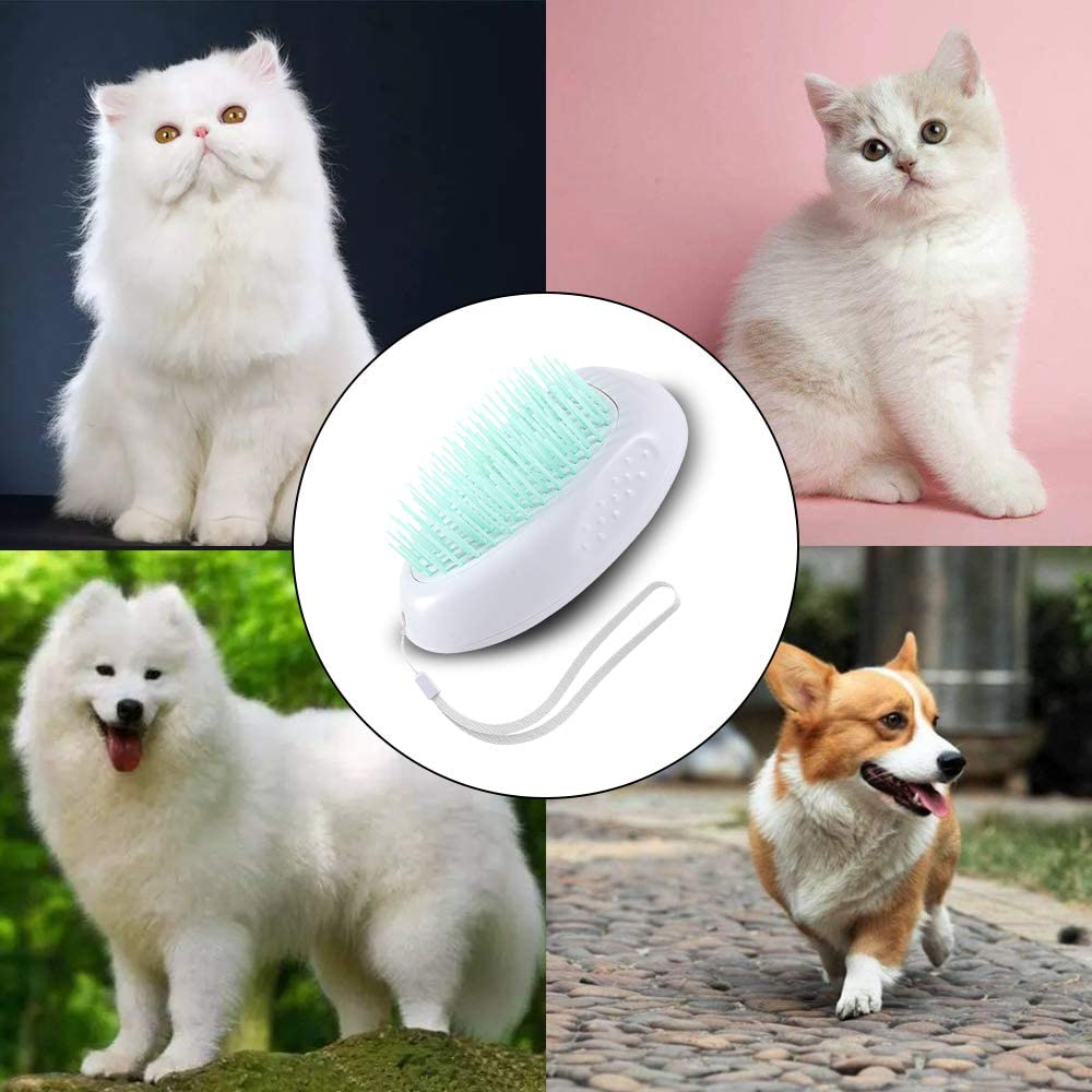 Green+Pink Dog And Cat Brush For Shedding And Grooming Pet Self Deshedding Brush For Shedding Quick Release Comb Dog Brush For Massage With Cleaning Buttonaning Slicker Brush Quick Release Comb Professional Pet Hair Comb