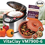 VitaClay VM7900-6 Smart Organic Multi-Cooker- A Rice Cooker, Slow Cooker, Digital Steamer plus bonus Yogurt Maker & The 150 Healthiest Slow Cooker Recipes on Earth Book (Bundle)