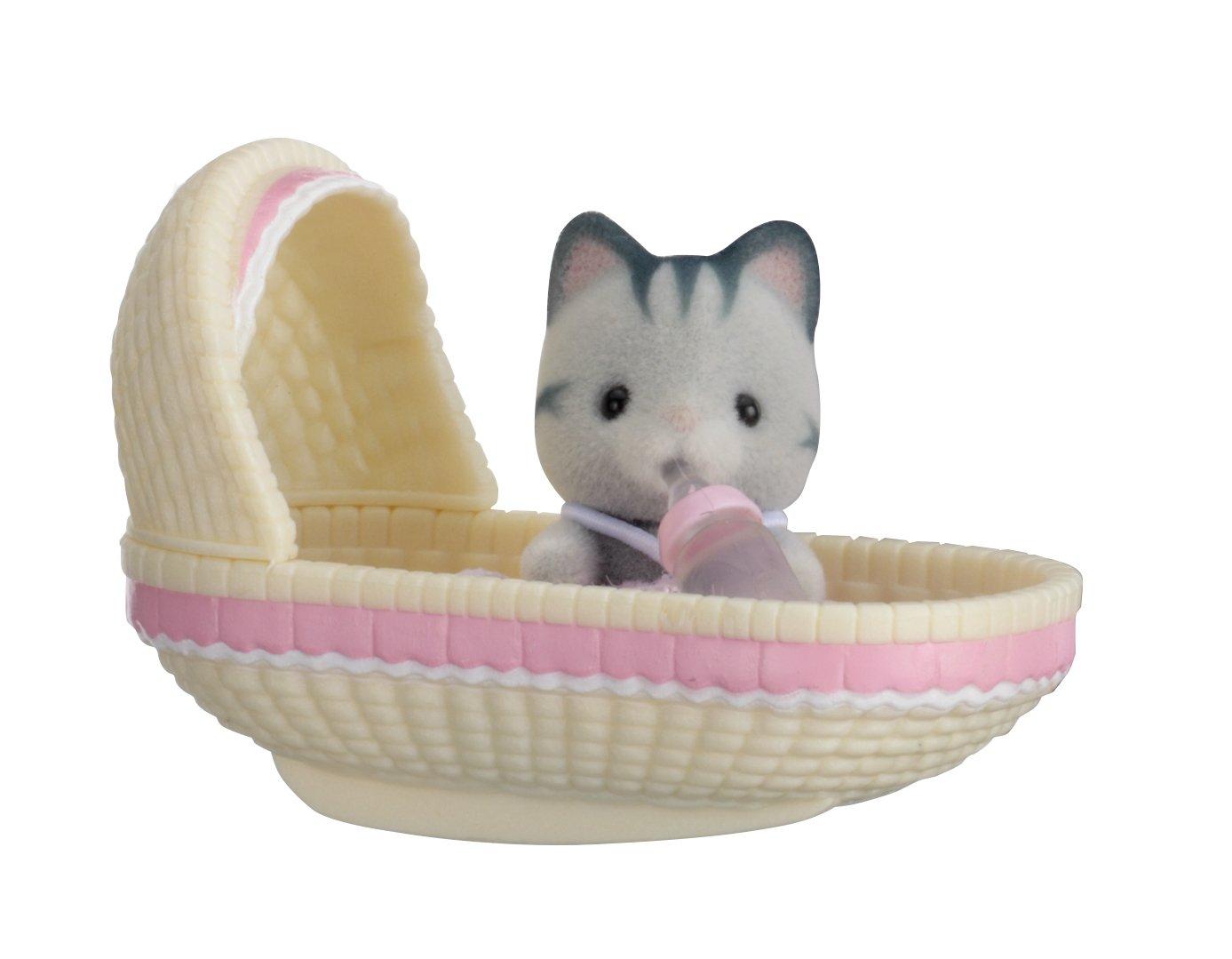 mehrfarben Sylvanian Families 5198 Katze im Babykorb
