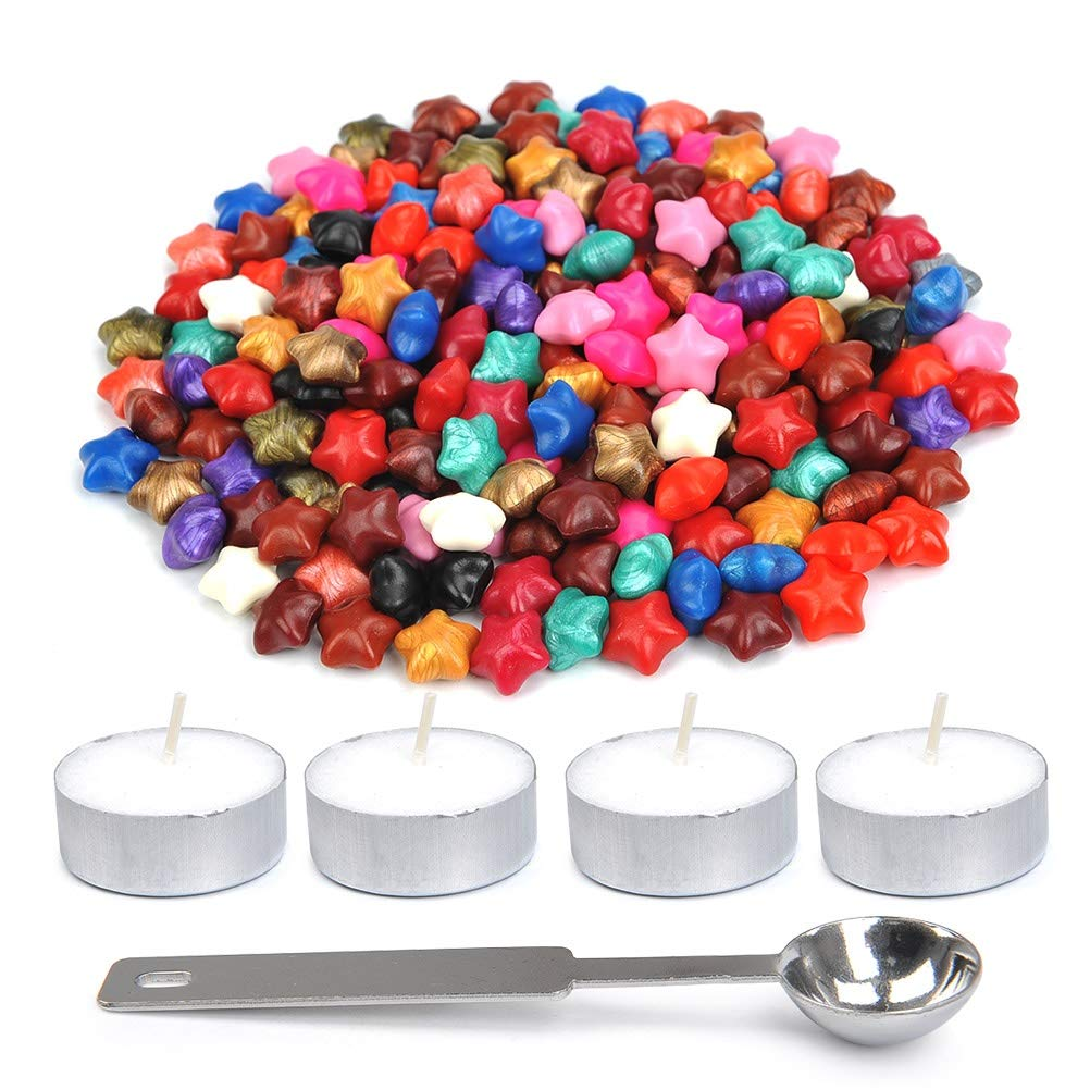 WOWOSS 200 Pieces Star Sealing Wax Beads with 1 Piece Wax Melting Spoon and 4 Pieces Candles for Wax Seal Stamp (Mixed Color)