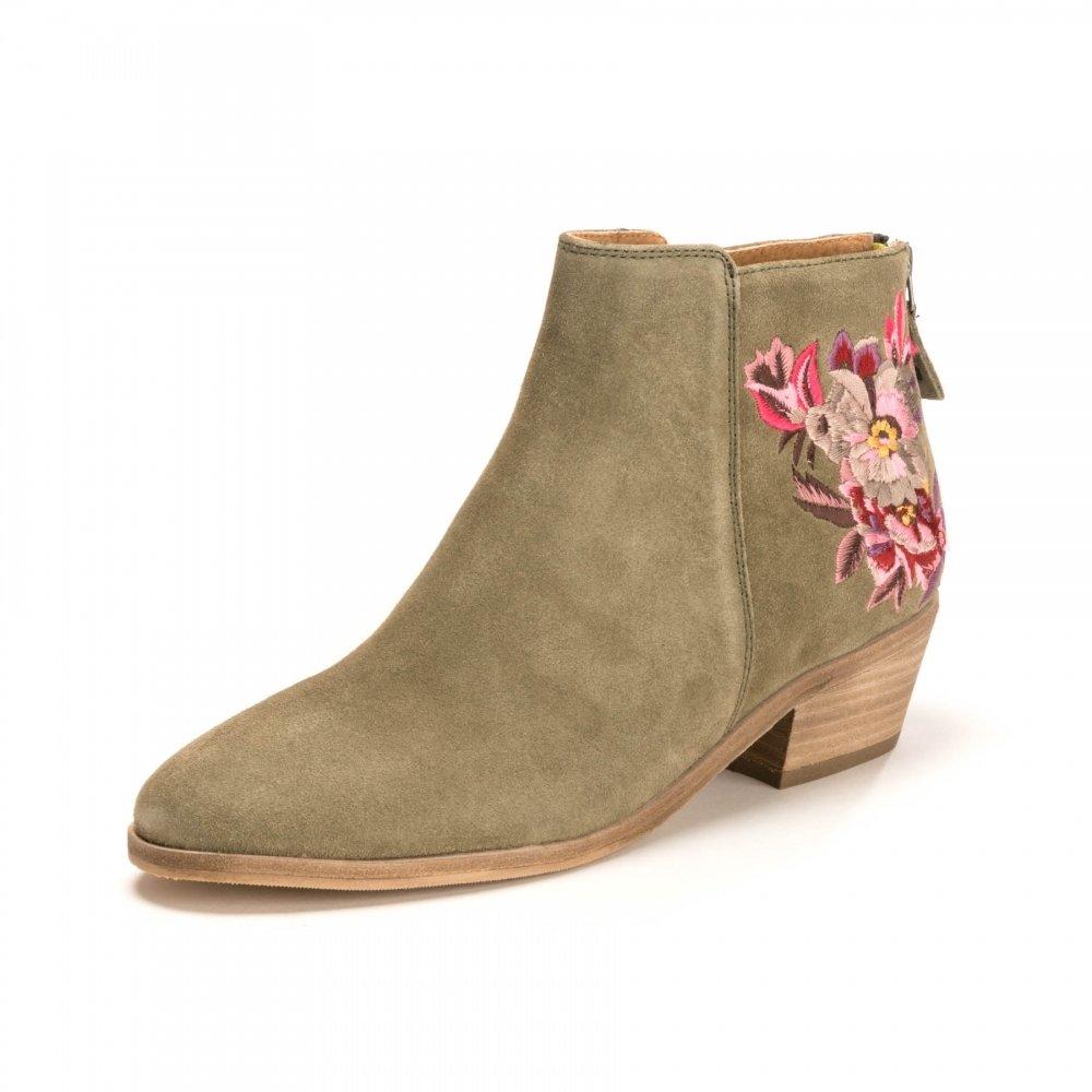Joules Langham Floral Wildleder Damen Stiefelette mit Stickerei (Z)