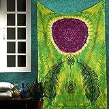 Green Mandala Dream Catcher Tapestry Indian Tie Dye Hippie Wall Hanging Twin Bohemian Tapestries College Dorm Room Decor Art Window Door Curtain Picnic Camping Beach Throw