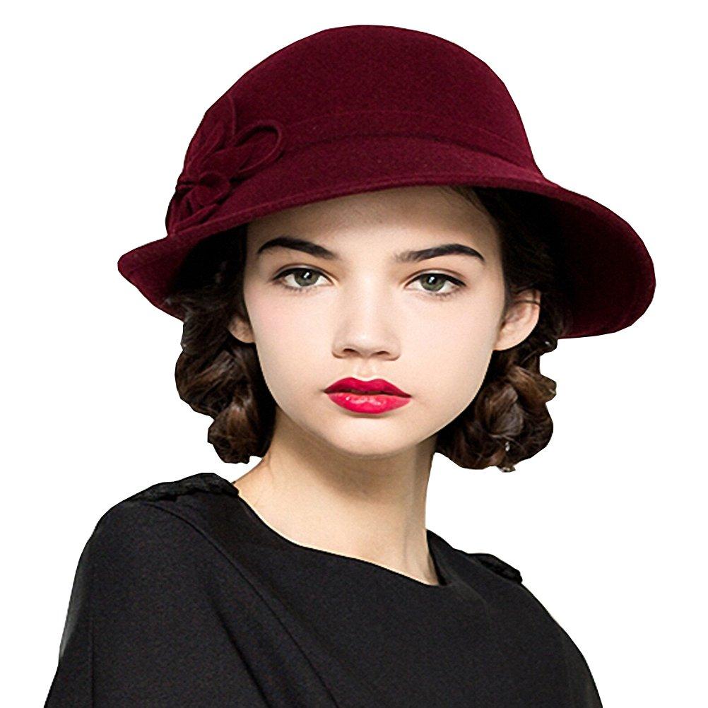 Maitose Women's Wool Felt Flowers Church Bowler Hats Wine Red