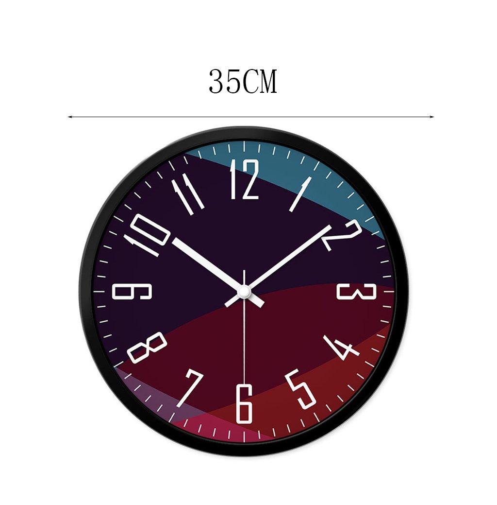 30-35CM Pratique et de précision LJF Horloge murale de quartz de chambre à coucher Couleur : Black, taille : 35 * 35CM