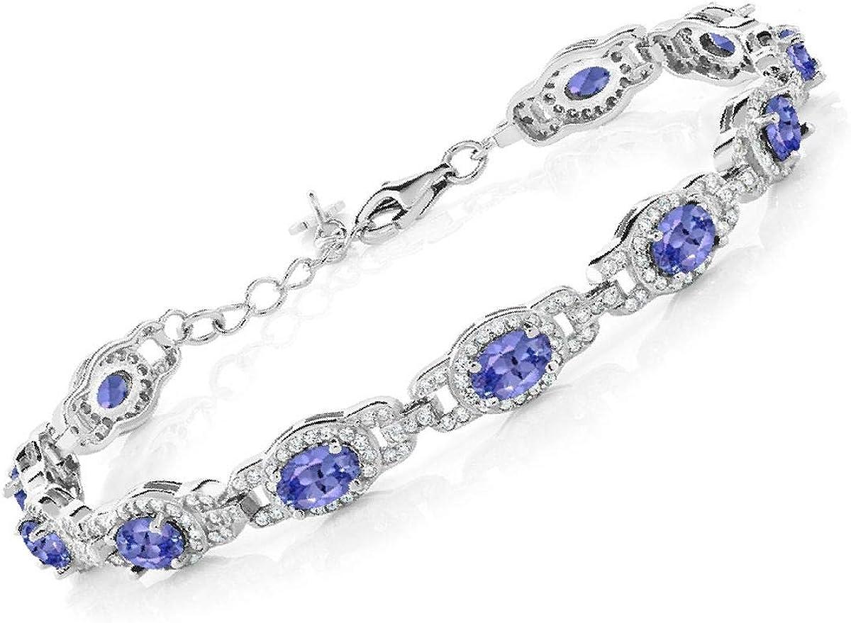 2.36 Ct Oval Blue Tanzanite AAA 925 Sterling Silver Earrings