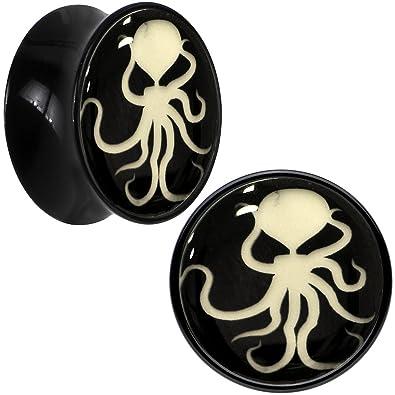 """Negro Acrílico Octopus brilla en la oscuridad Dilatador Par 5/8"""""""