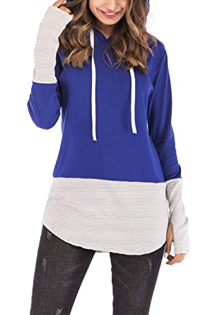 db7764c0e627 FAVALIVE Womens Long Sleeve Fall Hoodies Casual Color Block Pullover Comfy  Bule S