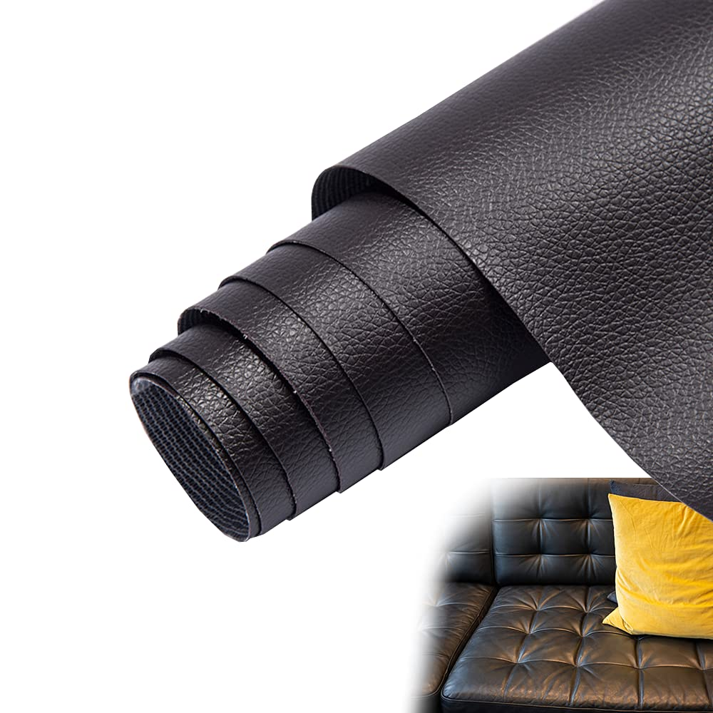 Leather Repair Patch Kit, Self-Adhesive Leather Repair Tape Anti Scratch Couch Repair Kit for Couches, Car Seat, Furniture, Wall (20x55inch, Black)