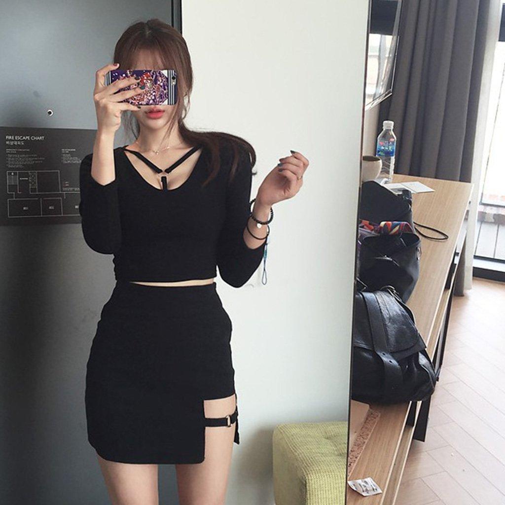 32817dbdfc44a OHTOP Korean Style Black Gap Irregular Hem Micro Mini Package Hip Pencil  Skirt