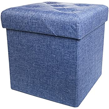 Amazon Com Folding Cube Storage Ottoman With Padded Seat