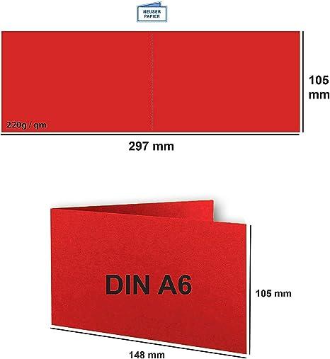 formato DIN A6 // C6-14,8 x 10,5 cm qualit/à premium Set di biglietti pieghevoli con buste Gustav NEUSER/® colori Froh/® 60 Karten-Sets 15 rosso rosa.