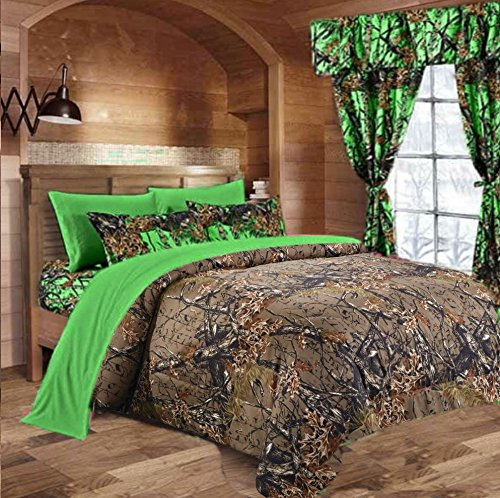 20 Lakes Woodland Hunter Camo Comforter Set (Forest Brown / Biohazard Green,King