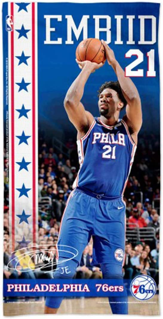 WinCraft Joel Embiid Philadelphia 76ers Beach Towel with Premium Spectra Graphics 30x60 inches
