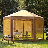 SUNTIME Outdoor Patio Hexagon Gazebo, Pop Up Instant Canopy, Garden Backyard Party Tent with Sidewalls(6.6' x 9.2'), Coffee Brown
