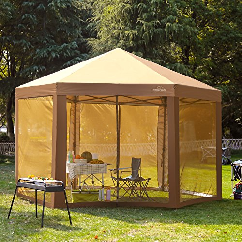 SUNTIME Outdoor Patio Hexagon Gazebo, Pop Up Instant Canopy, Garden Backyard Party Tent with Sidewalls(6.6' x 9.2'), Coffee Brown (Patio Enclosed)