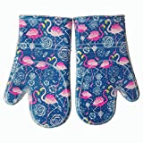 Oven Mitts Kitchen set Heat Resistant to 500 F With Transparent clear Silicone set of 2, Nice Flamingo Printing Cotton Lining, Oven Gloves for Cooking, Baking, Machine Washable for Women and Men Blue