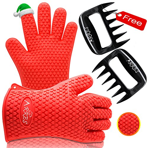 Arres Barbecue Gloves & Pulled Pork Claws Set - Silicone Heat Resistant Grilling Accessories & Home Kitchen Tools...