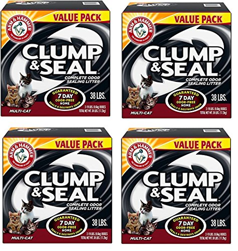 Arm and Hammer CkhvQW Clump and Seal Multi-Cat Litter, 38 lb (4 Pack) by Arm and Hammer