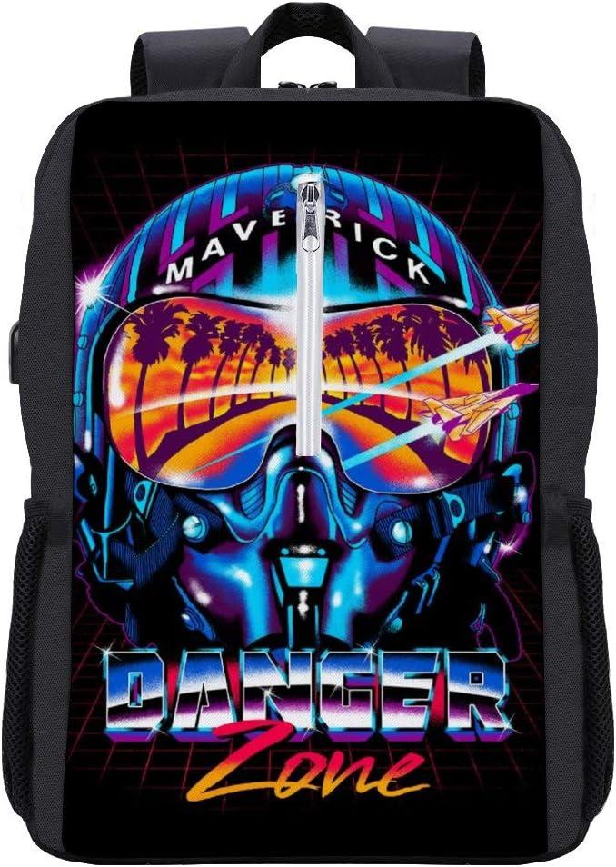 Danger Zone Miami Vice Top Gun Backpack Daypack Bookbag Laptop School Bag with USB Charging Port