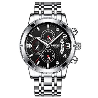 NIBOSI Mens Chronograph Quartz Watch with Stainless Steel Strap Black Wristwatches for Men Calendar Date Watch