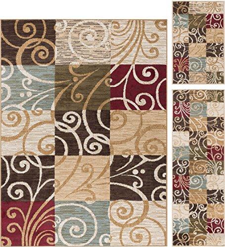 Carmen Transitional Geometric Multi-Color 3-Piece Area Rug Set, 3-Piece Set 3 Piece Carpet Set