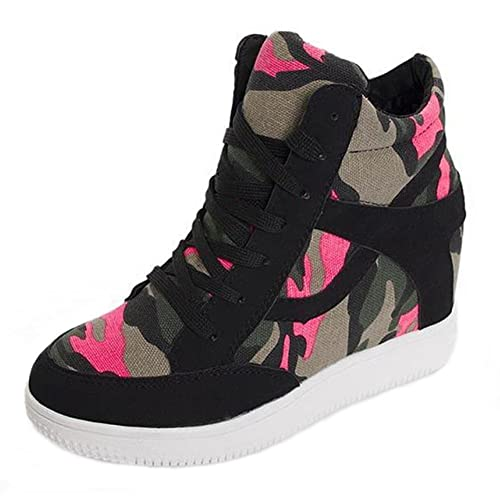 b4cf5ae5df6 PP Fashion Women's Formal Lace-up Camouflage Wedge Durable Hidden Heel Suede  Leather Sneaker: Amazon.ca: Shoes & Handbags