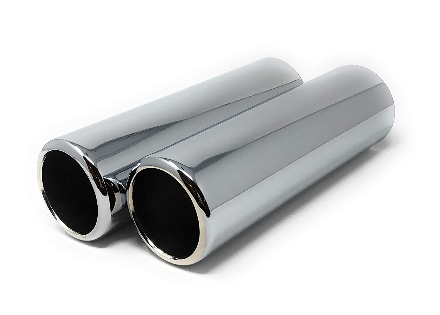 2.50 Outlet 9 Length 2 Piece Set of Pencil Cut Chrome Exhaust Tips 2.25 Inlet